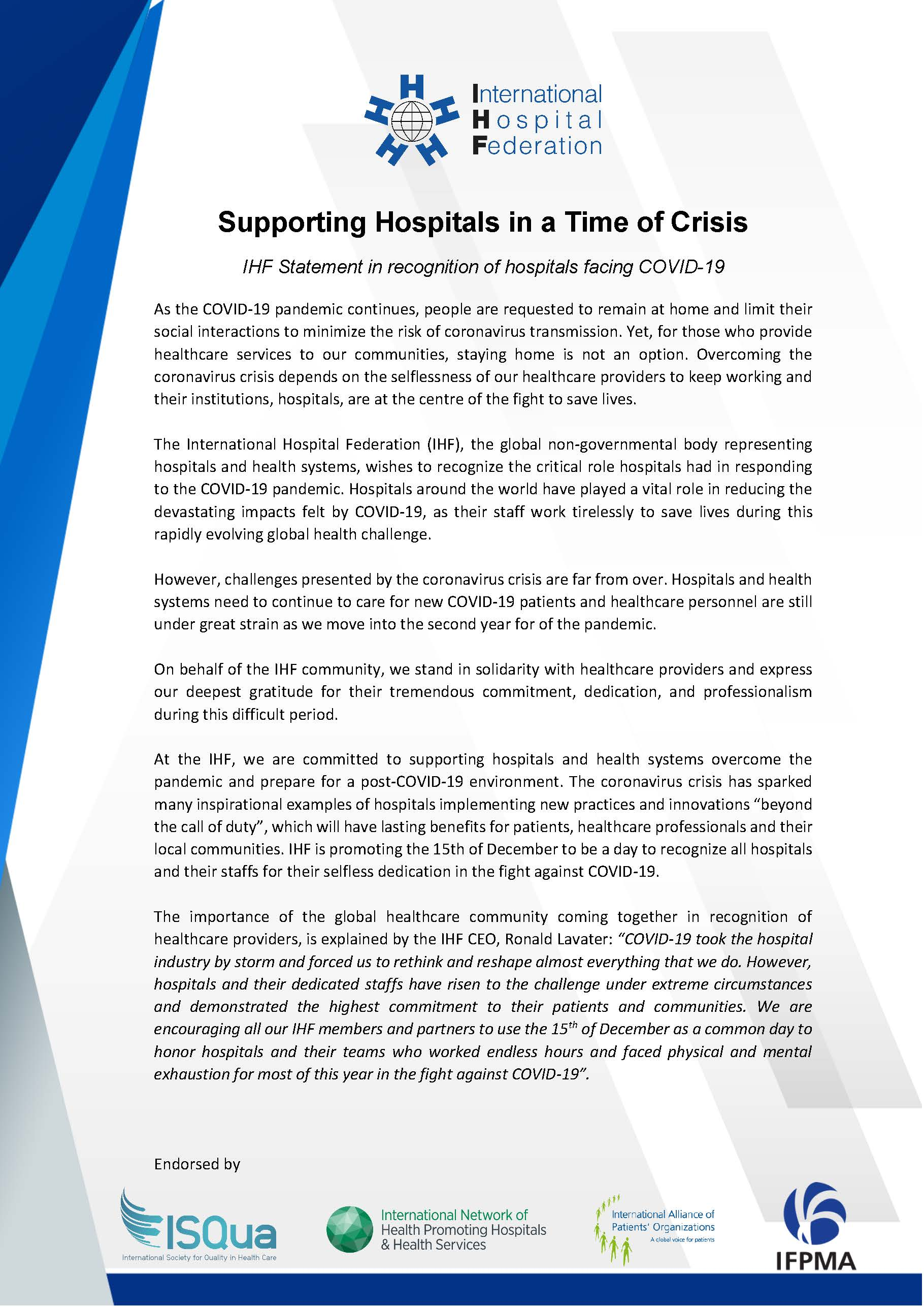 Recognition of Hospitals Statement