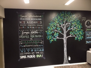 ONA's Mural of Values, in the reception area of their new offices