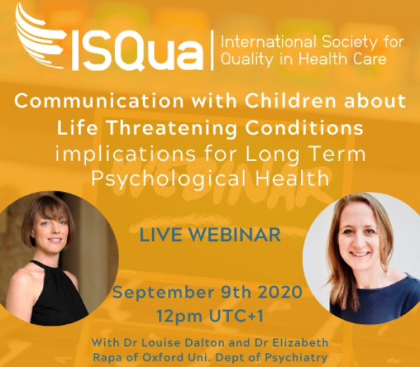 Watch the Recording:  Communication with Children about Life Threatening Conditions: implications for Long Term Psychological Health