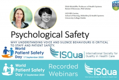 ISQua Webinar Recording: Psychological Safety - Why understanding voice and silence behaviours is critical to staff and patient safety